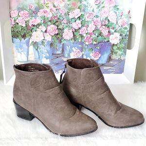 Gray heeled booties